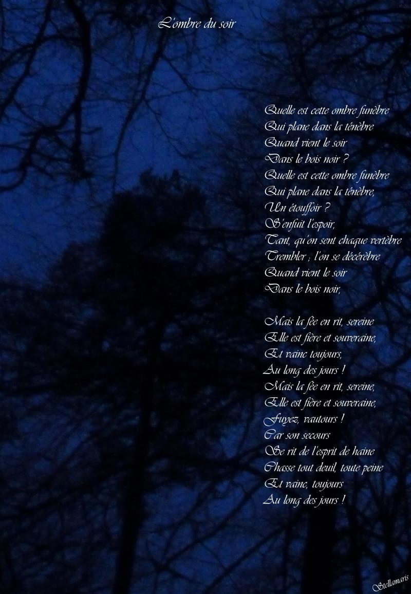 L'ombre du soir / / Quelle est cette ombre funèbre / Qui plane dans la ténèbre / Quand vient le soir / Dans le bois noir ? / Quelle est cette ombre funèbre / Qui plane dans la ténèbre, / Un étouffoir ? / S'enfuit l'espoir, / Tant, qu'on sent chaque vertèbre / Trembler ; l'on se décérèbre / Quand vient le soir / Dans le bois noir, / / Mais la fée en rit, sereine / Elle est fière et souveraine, / Et vainc toujours, / Au long des jours ! / Mais la fée en rit, sereine, / Elle est fière et souveraine, / Fuyez, vautours ! / Car son secours / Se rit de l'esprit de haine / Chasse tout deuil, toute peine / Et vainc, toujours / Au long des jours ! / / Stellamaris